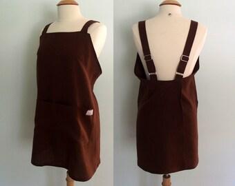 Japanese Apron, Brown Linen Apron, Pinafore Apron, Gift for Her, Wrap Apron, Artist Apron, Crossback Apron, Long Linen Apron, Pockets