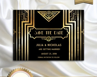 Great Gatsby Style Art Deco Save the Date Card, Roaring Twenties, 1920's, 20's Style, Black and Gold - Printable DIY, GG01