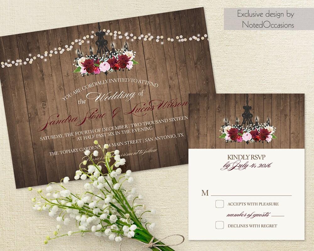 Vintage Chandelier Wedding Invitation Industrial Chic Marsala