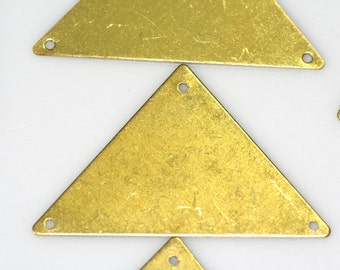 Triangle tag 15 pcs Raw Brass 45 x 28 mm 3 hole connector Charms ,Findings 742R-38