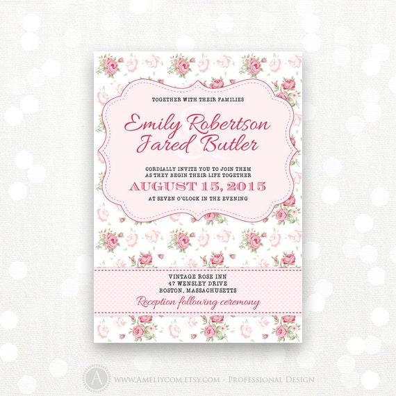 Cheap Shabby Chic Wedding Invitations: Printable Wedding Invitation Pink Shabby Chic Custom For Your
