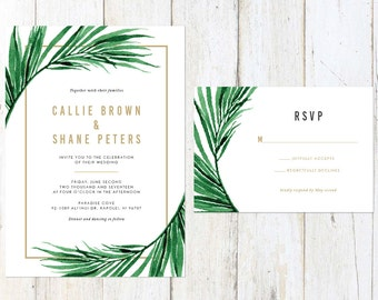 Tropical Wedding Invitation, Palm Leaves Wedding Invitation, Gold Palm Tree Invitation, Destination Invitation