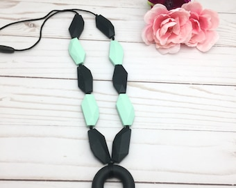 Mint Black Silicone Teething Necklace | Nursing Necklace | Beaded  Necklace | New Mom Gift | Teething Jewelry | Silicone Baby Teether