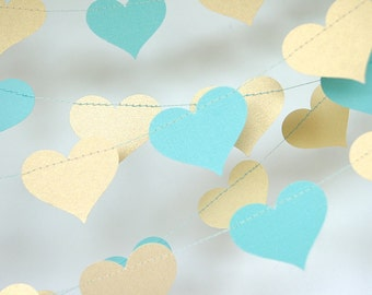 Gold and Teal Blue Heart Paper Garland, Turquoise and Gold, Double-Sided, Bridal Shower, Baby Shower, Party Decorations, Birthday Decoration