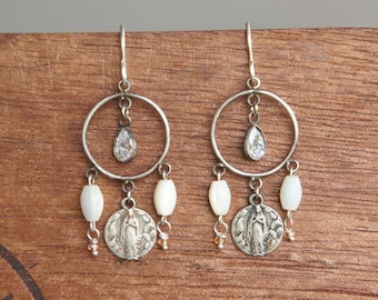 Antique Assemblage Chandelier Earrings with Religious medals, Mother of Pearl and Sapphire
