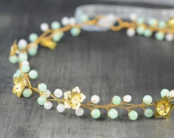 Mint Green Wedding Hair Piece, crystal Hair Vine, bridal Hairpiece , Boho Headpiece, Gold Flower Crown, crystal tiara, art deco wedding