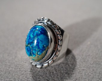 Vintage Sterling Silver Large Oval Shades Blue Agate Fancy Scrolled Wide Cigar Band Design Ring, Size 8.5