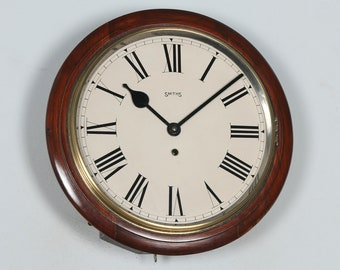 "Antique 15"" Mahogany Smiths Railway Station / School Round Dial Wall Clock (Timepiece)"