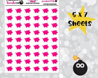 Piggy bank savings planner stickers - removable vinyl planner stickers Vinyl