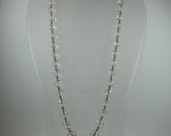 Vintage Victorian Style (1837-1901) Silver Clear Crystal Graduated Beaded Necklace