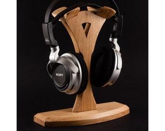 Wooden headphone stand headphone station headphone holder tech gift