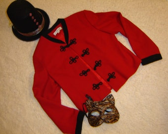 Ringmaster circus lion tamer sz 12 red jacket top hat  women's Halloween costume carnival