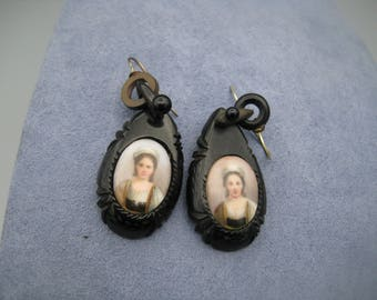 Gutta Percha Mourning Earrings France ca. 1890