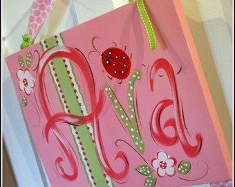 Custom Canvas Personalized Hand Painted Bow Holder- Ladybug Design