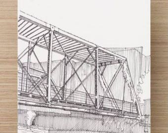 Ink Sketch of Bridge Over Cherry Creek in Denver - Drawing, Art, Architecture, River, Bike Path, Pen and Ink, 5x7, 8x10, Print
