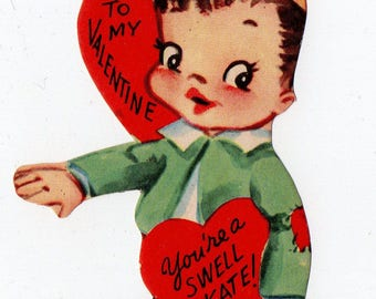 Vintage Rollerskating Boy Valentine |  Greeting Card | Valentine's Day, Valentines, Heart, Skating, Skate, Love, Romance | Paper Ephemera