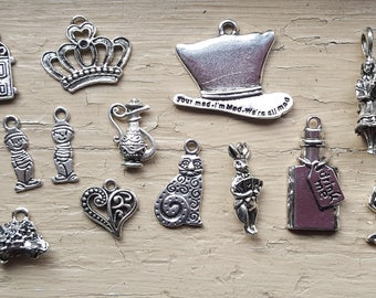 Alice in Wonderland 23 pc Tibetan Style Pendant Charms Antique Silver