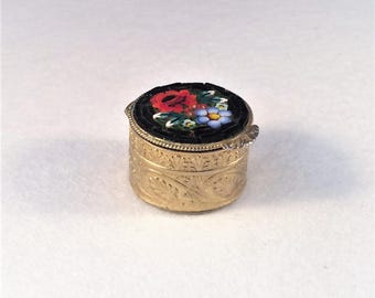 Vintage Floral Italian Gold Toned Micro Mosaic Pill Box