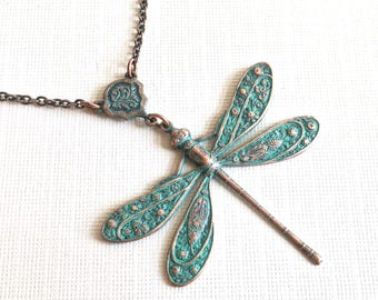 Teal Copper Dragonfly Necklace - Patina Necklace, Dragonfly Jewelry