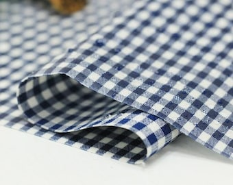 Laminated Cotton Fabric - 3 mm Navy Check - By the Yard 49107