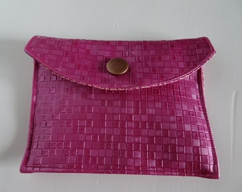 wallet pink faux leather with flap
