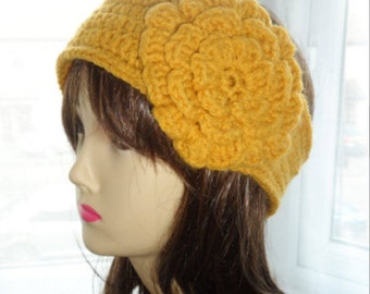 Crochet Headband with flower and button strap one size fits all