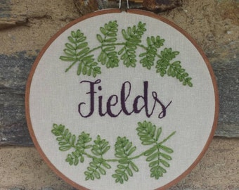 Hand Embroidery. Embroidery Hoop. Wedding Gift. Name. Last Name. Personalized. Hoop Art. Wall Art. Anniversary Gift. Love. Made to Order