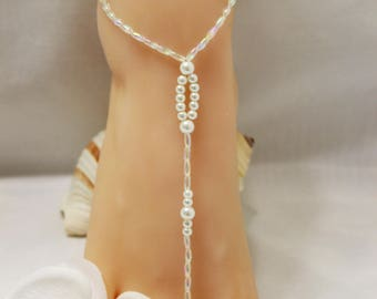 Beach Wedding Barefoot Sandals Pearl Barefoot Sandals Bridal Foot Jewelry Barefoot Sandals Footless Sandals Bridal Sandals