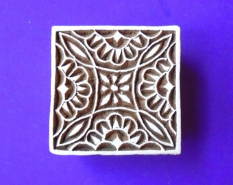 Hand Carved Square Wood Fabric Textile Stamp Indian Print Block (SQ14)