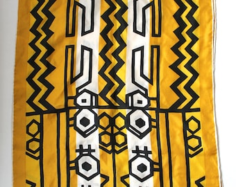 Vintage 1950s/1960s Yellow, White, and Black Abstract Geometric Print Rectangular Silk Scarf by Vera Neumann