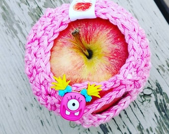Apple cozy Fruit cozy Handmade Crochet - apple cosy - Lunch bag buddy- Dragon or monster