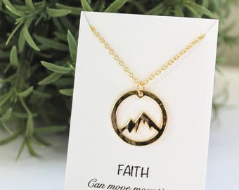 Mountain necklace/Mountain pendant/Mountain jewelry/Friendship necklace/Birthday necklace/Inspirational necklace/Inspirational jewelry