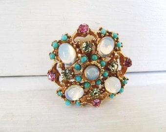 Colorful Gold Tone Floral Brooch With White Moonstones, Turquoise Beads, Pink And Clear Rhinestones