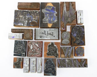 Lot of 21 Vintage Letterpress Blocks: Retro Images, Letter, and Labels