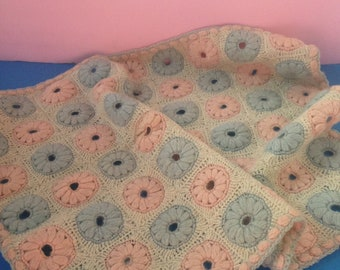 """Antique Doll/Baby Blanket/Afghan--Hand Crocheted Pink And Blue """"Doughnut"""" Circles On Ecru Ground--Vintage Doll Accessories"""