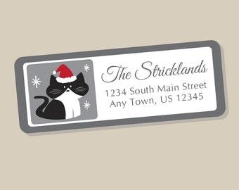 Christmas Cat Address Labels, Holiday Return Address Label Stickers, 60 labels, Christmas Address Stickers, Holiday Labels, Tuxedo Cat
