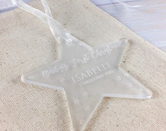 Baby's First Christmas // Personalised Frosted Perspex Star Christmas Tree Decoration