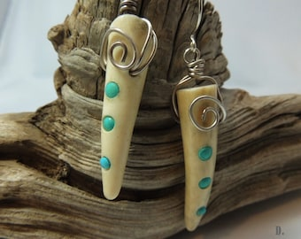 Antler and Turquoise Earrings Sterling Silver Earwires D