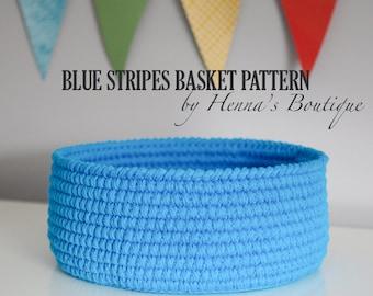 Crochet Basket Pattern - Blue Stripes Basket - Size Large - PDF
