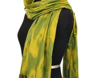 Ferghana Valley Green Ikat Silk Scarf - Sc26 (6100)