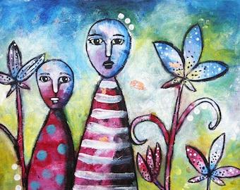 Original Painting Mixed Media Twilight In The Garden