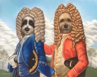 Commission Your Own Bespoke Rococo Pet Portrait Pastel Painting