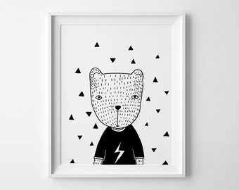 Nursery art, wall art prints, affiche scandinave, Bear in T-shirt, nursery decor, Black and white art, Scandinavian print nursery wall print