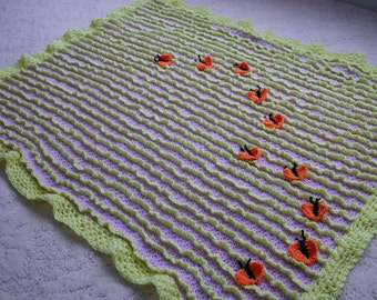 Spring Lavendar and Sunshine Chenille Lap Blanket 44 by 36 inches (111 by 91 cm)
