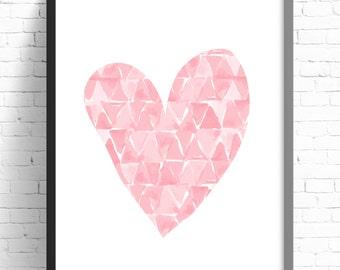 Nursery Print, Girls Bedroom Wall Art Print, Pink Watercolor Dream Catcher Print, Nursery Decor, Girls Nursery Print, 8x10 A4