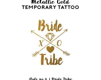 Bride Tribe Bachelorette Tattoo | Metallic Gold Temporary Tattoos, Bachelorette Party Favors, Boho Arrow Tribal Gold Foil Bride Tribe Tattoo