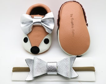 Baby Moccasins, Baby Blush Pink Fox Moccasins, Baby Leather Shoes, Genuine Leather Moccs, Toddler Moccasins, Baby Bow Moccasins