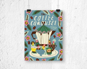 Poster - the Coffee Carousel - print - poster coffee - coffee poster - coffee posters - coffee art - coffee lover gift - gift for her