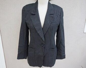 Vintage Black Blazer, Polka Dot Blazer, Unique Blazer, Patterned Blazer