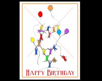 Let the fun begin -  Birthday Card with a whimsical  design.